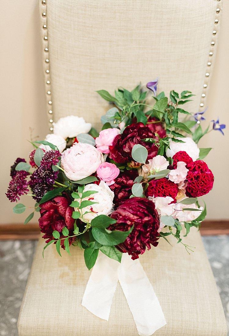 Bouquet Red Pink Roses Peonies Greenery Burgundy Plum Blush Modern Romantic Winter Wedding Texas http://www.albarosephotography.com/