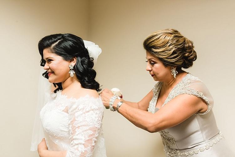 Bride Getting Ready Mother Lace Off Shoulder Veil Curls Modern Romantic Winter Wedding Texas http://www.albarosephotography.com/