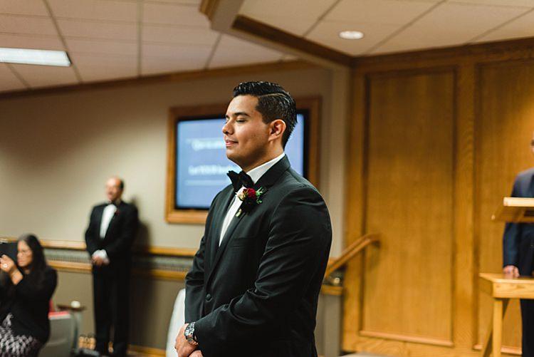 Groom Bowtie Ceremony Modern Romantic Winter Wedding Texas http://www.albarosephotography.com/