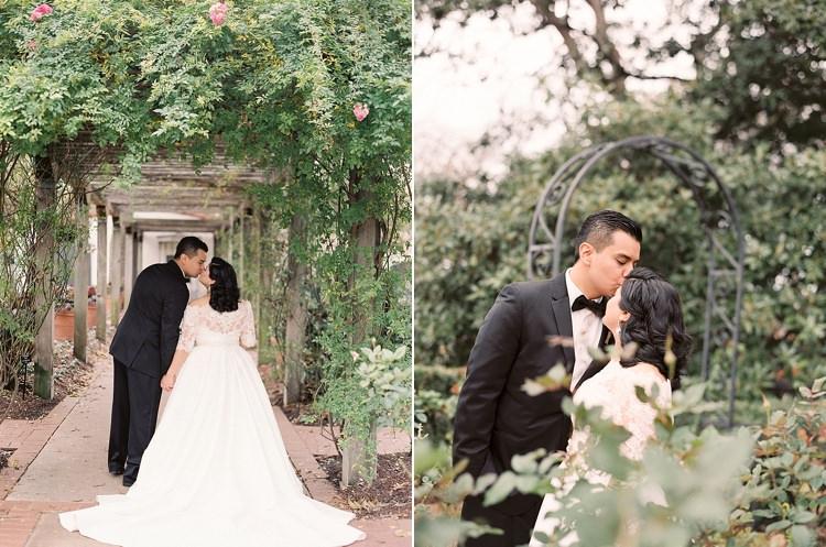 Bride Groom Garden Bowtie Lace Dress Off Shoulder Sleeves Kiss Modern Romantic Winter Wedding Texas http://www.albarosephotography.com/