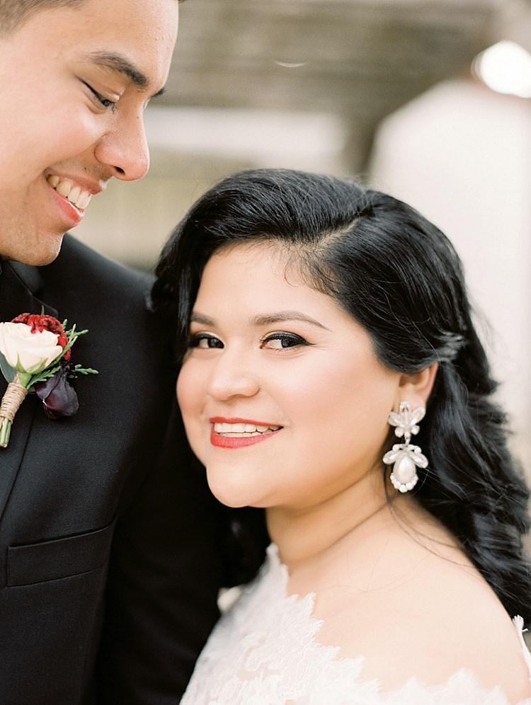Bride Groom Lace Off Shoulder Dress Modern Romantic Winter Wedding Texas http://www.albarosephotography.com/