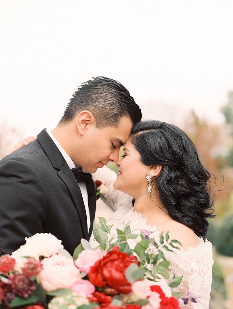 Tuxedo Bow Tie Red Pink Bouquet Lace Dress Curls Modern Romantic Winter Wedding Texas http://www.albarosephotography.com/