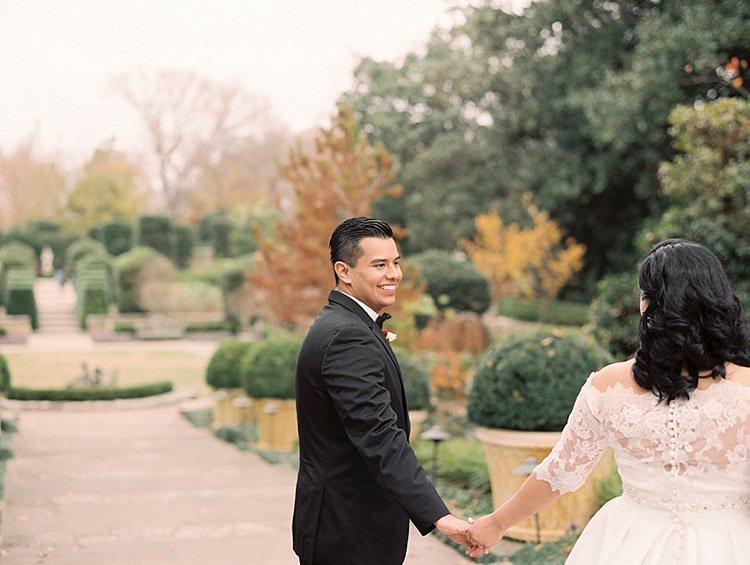 Bride Groom Garden Bowtie Lace Dress Off Shoulder Sleeves Buttons Modern Romantic Winter Wedding Texas http://www.albarosephotography.com/