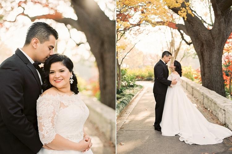 Bride Groom Garden Bowtie Lace Dress Off Shoulder Sleeves Modern Romantic Winter Wedding Texas http://www.albarosephotography.com/