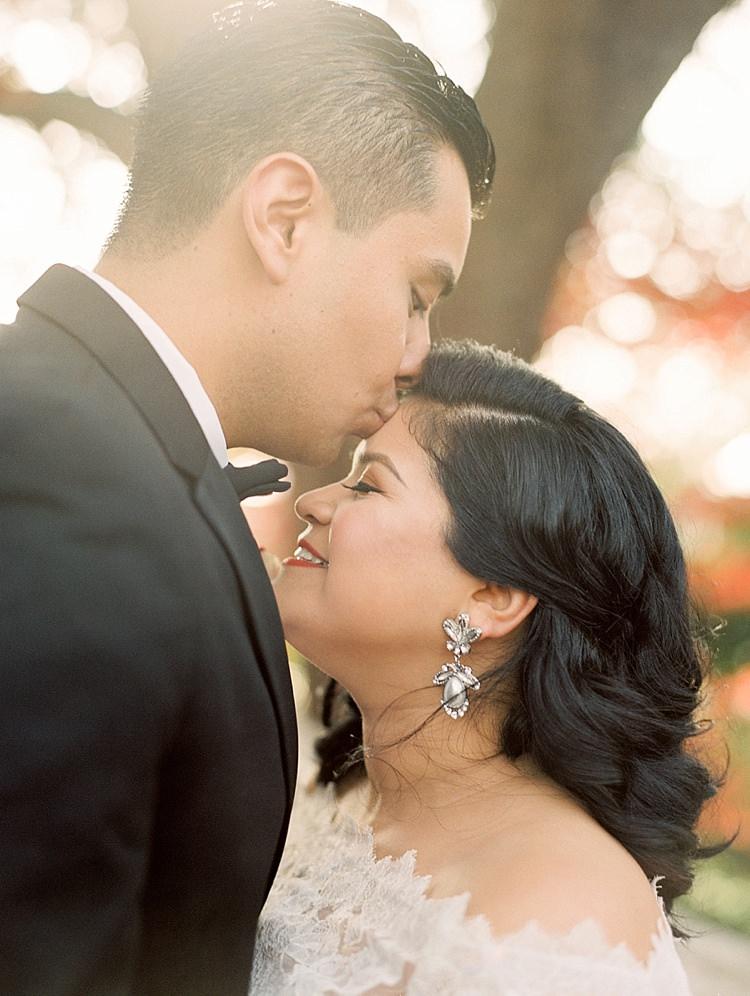 Bride Groom Kiss Lace Off Shoulder Modern Romantic Winter Wedding Texas http://www.albarosephotography.com/