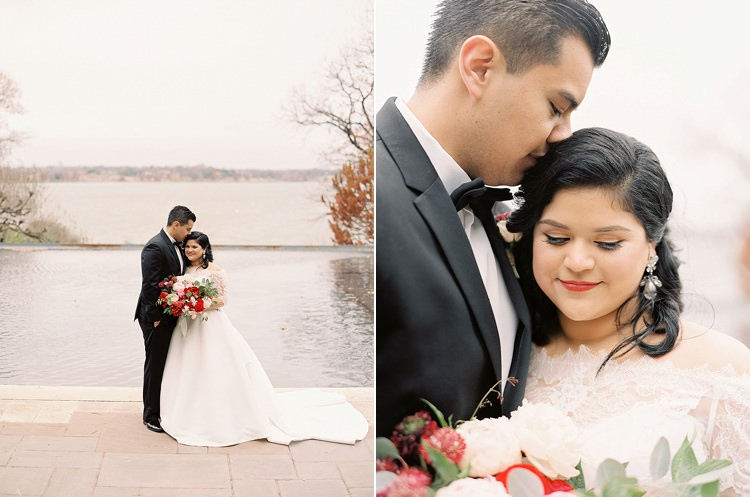 Bride Groom Garden Bowtie Lace Dress Off Shoulder Sleeves Bouquet Red Pink Peonies Roses Greenery Lake Modern Romantic Winter Wedding Texas http://www.albarosephotography.com/