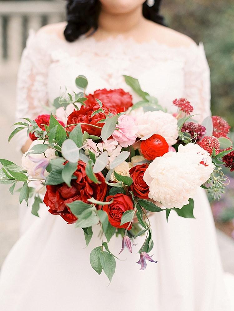 Bouquet Peonies Red Pink White Greenery Roses Modern Romantic Winter Wedding Texas http://www.albarosephotography.com/