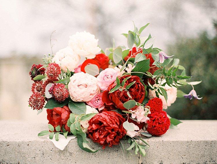 Peonies Roses Red Pink Greenery Bouquet Modern Romantic Winter Wedding Texas http://www.albarosephotography.com/