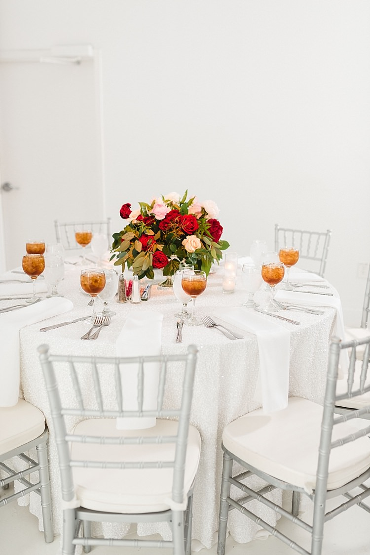 Table Setting White Linen Centre Piece Roses Flowers Red Pink Greenery Candles Modern Romantic Winter Wedding Texas http://www.albarosephotography.com/