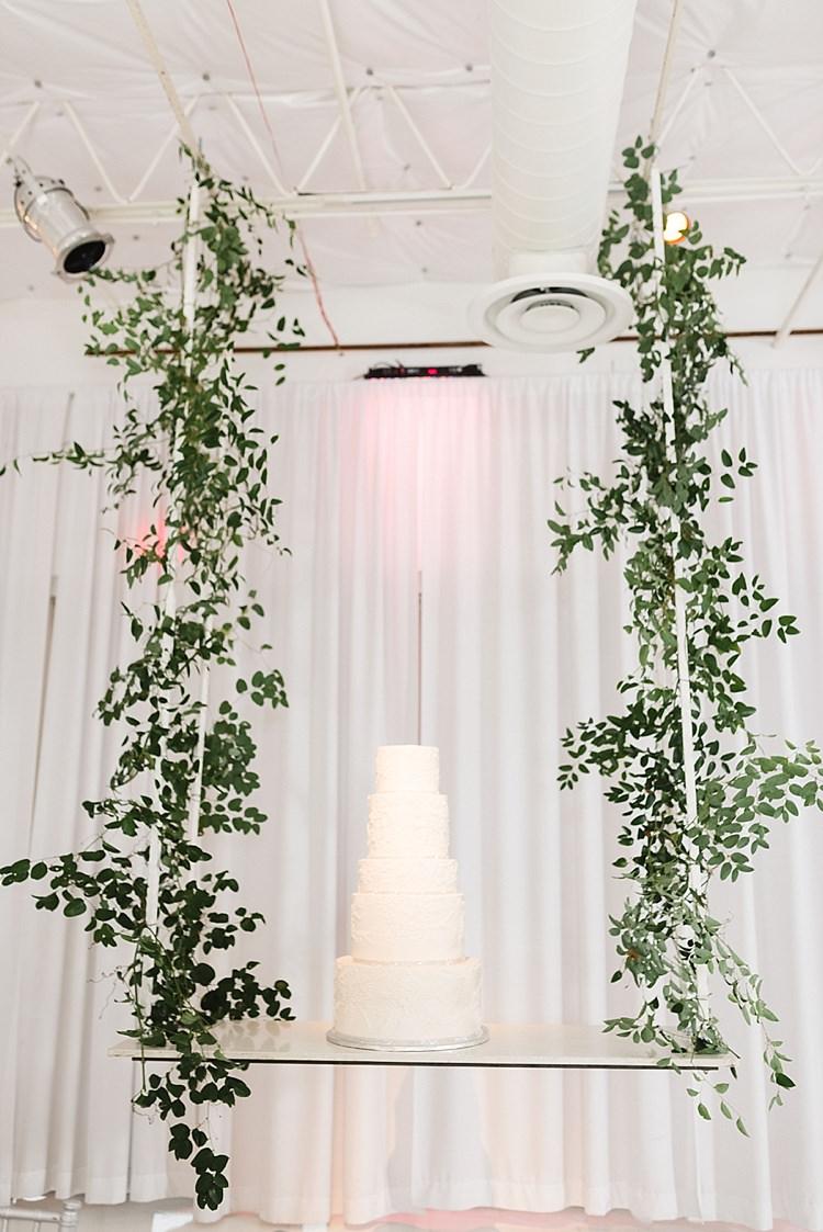 Greenery Cake Display White Tiers Modern Romantic Winter Wedding Texas http://www.albarosephotography.com/