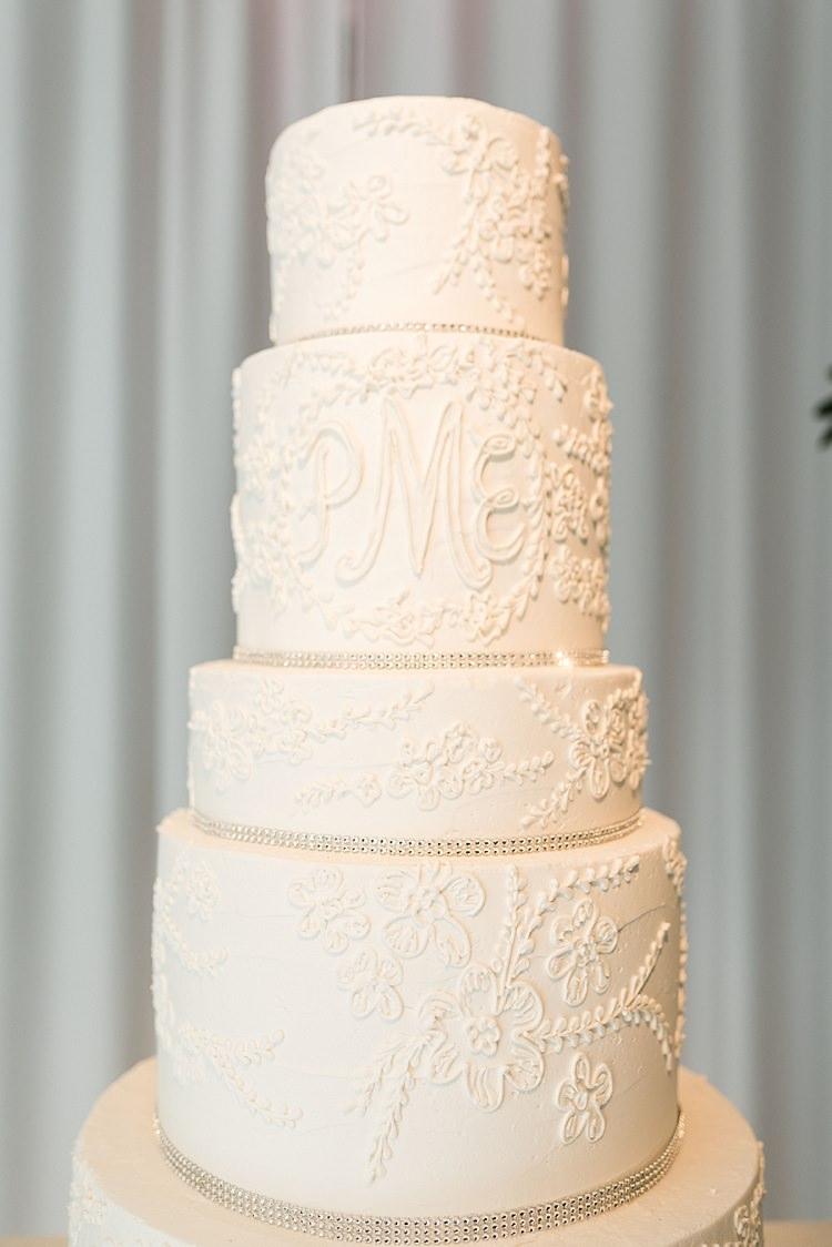 Cake Tall White Detail Initials Diamonte Modern Romantic Winter Wedding Texas http://www.albarosephotography.com/