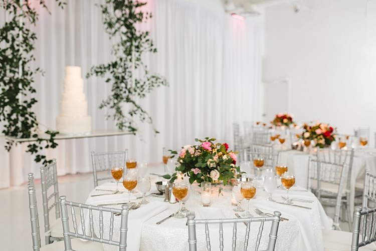 Table Setting White Linen Cake Centre Piece Roses Flowers Red Pink Greenery Candles Modern Romantic Winter Wedding Texas http://www.albarosephotography.com/