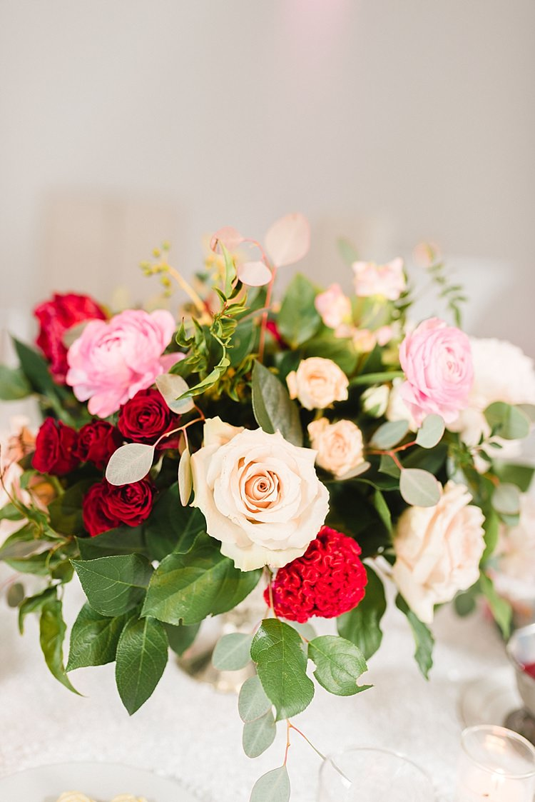 Centre Piece Floral Flowers Red Pink Roses Greenery Modern Romantic Winter Wedding Texas http://www.albarosephotography.com/