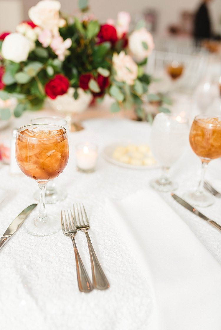 Table Settings Place White Roses Pink Red Greenery Cocktail Candles Modern Romantic Winter Wedding Texas http://www.albarosephotography.com/