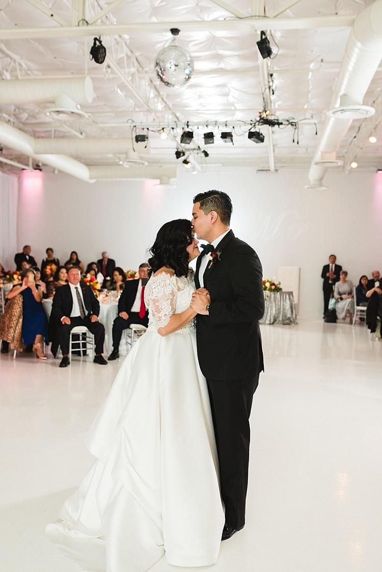 Bride Groom First Dance Bowtie Classic Dress Lace Sleeves Off Shoulder Modern Romantic Winter Wedding Texas http://www.albarosephotography.com/