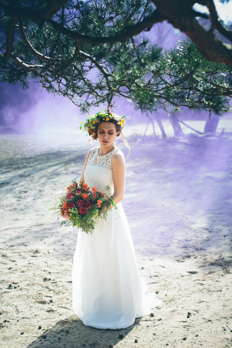 Smoke Bomb Wedding Portraits Images Photographs http://www.leentjeloveslight.com/