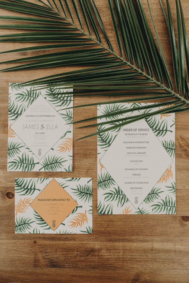 Palm Leaf Stationery Invites Invitations Vibrant Tropical Wedding Ideas http://foto-memories.co.uk/