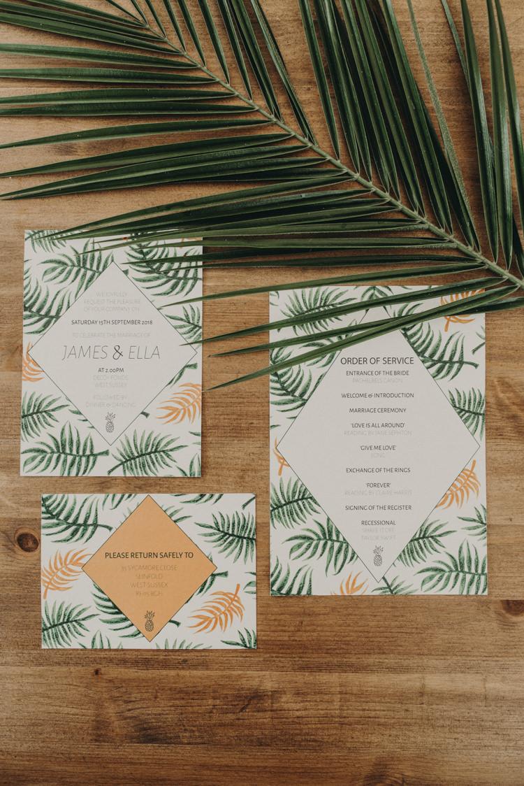 Palm Leaf Stationery Invites Invitations Vibrant Tropical Wedding Ideas http://foto-memories.co.uk/