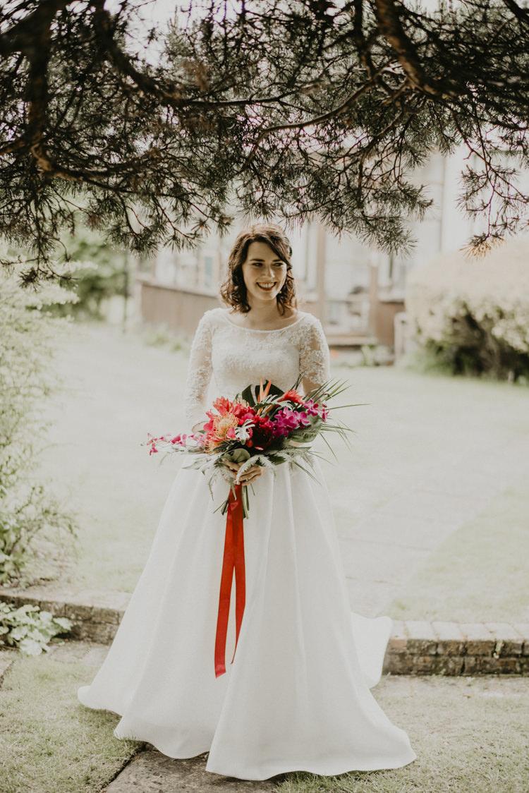 Bride Bridal Dress Gown Lace Long Sleeves Vibrant Tropical Wedding Ideas http://foto-memories.co.uk/
