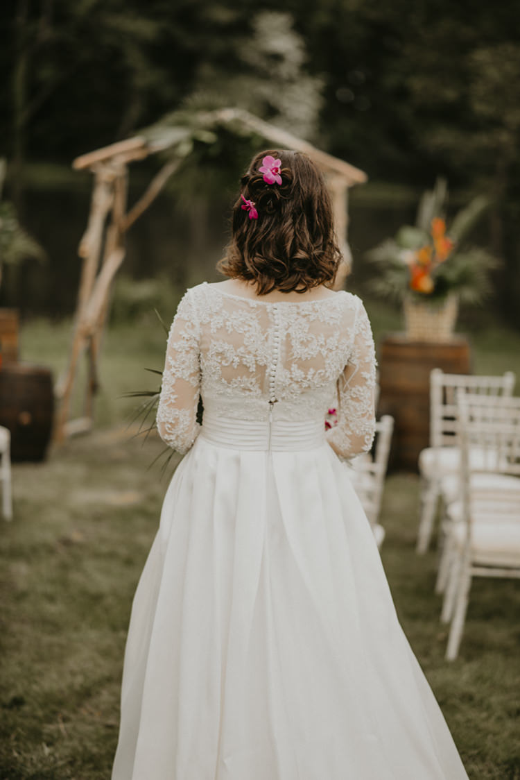 Bride Bridal Dress Gown Lace Long Sleeves Back Vibrant Tropical Wedding Ideas http://foto-memories.co.uk/