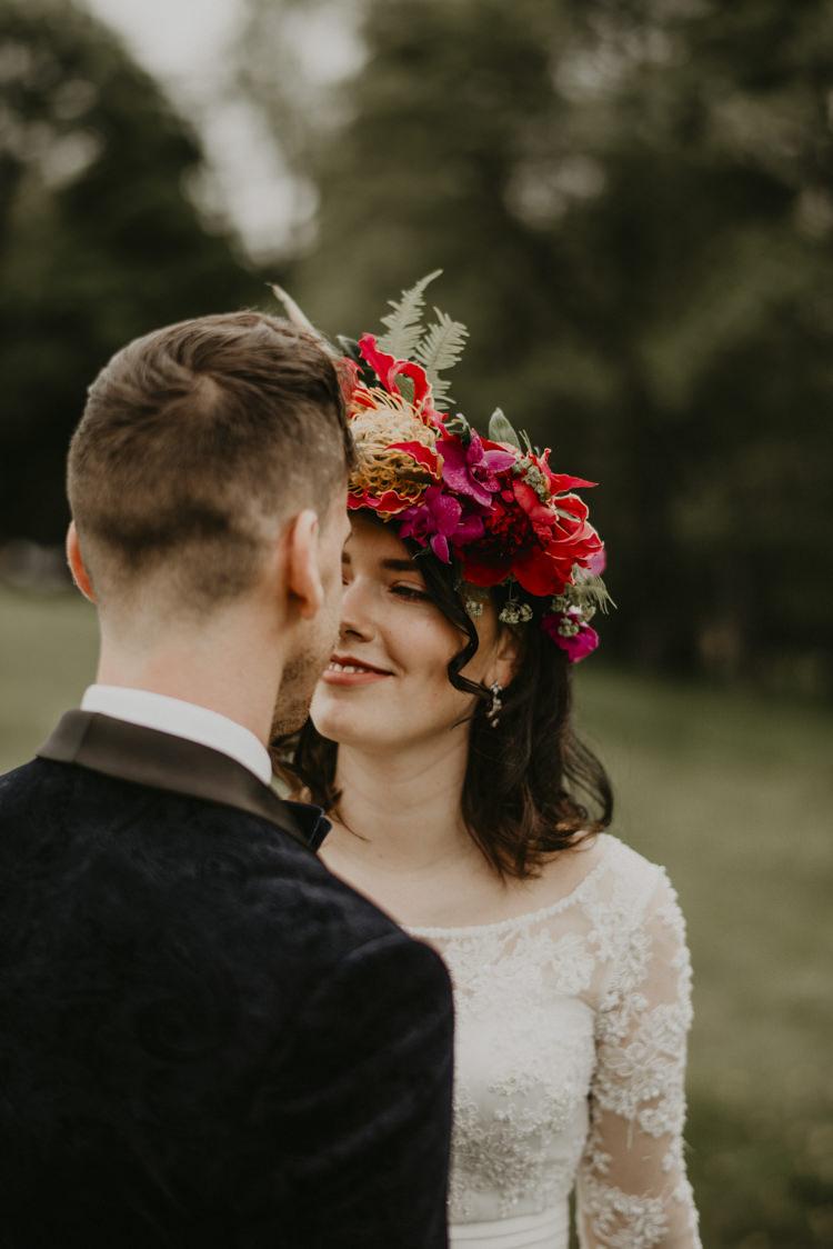Large Flower Crown Bride Bridal Headdress Vibrant Tropical Wedding Ideas http://foto-memories.co.uk/