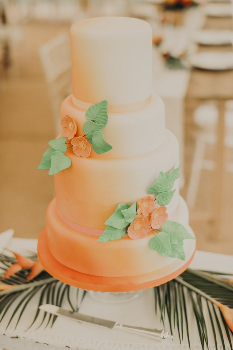 Ombre Orange Cake Flowers Leaves Vibrant Tropical Wedding Ideas http://foto-memories.co.uk/
