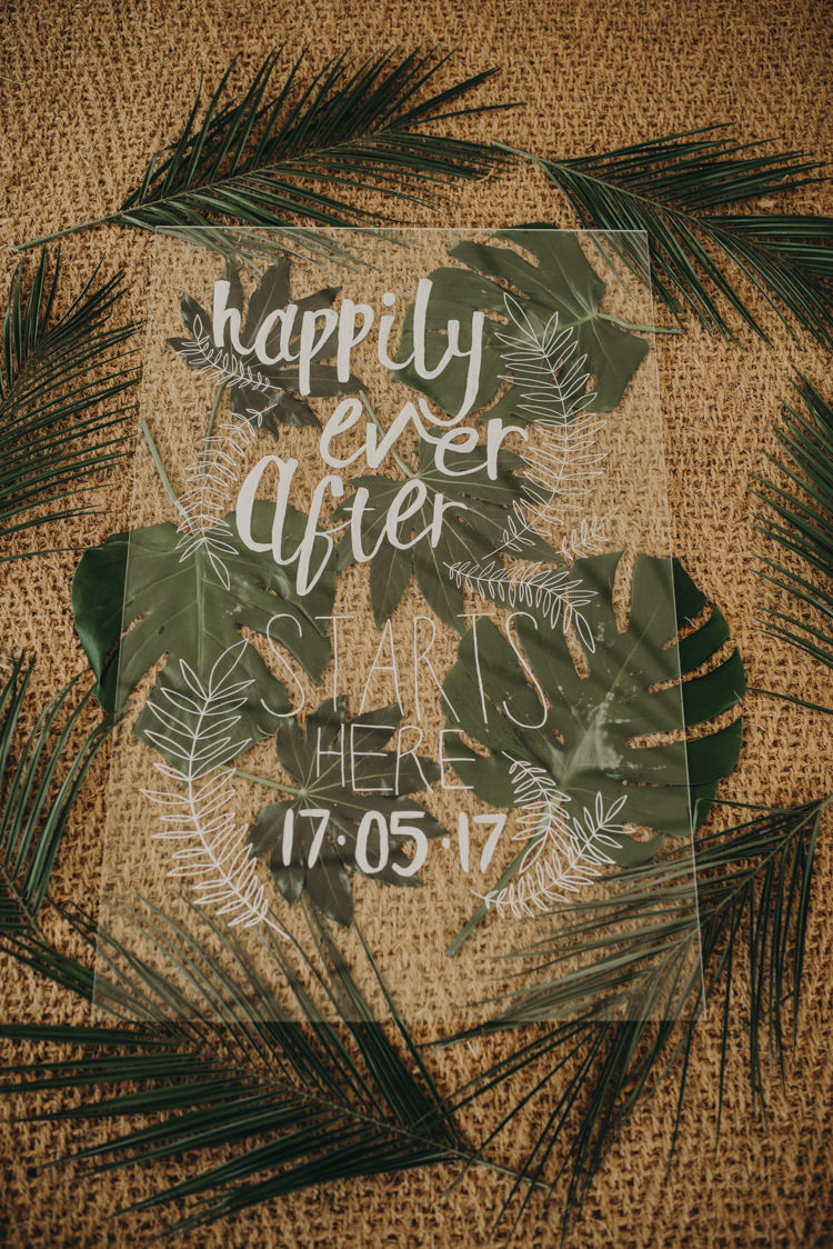 Acrylic Stationery Menu Decor Calligraphy Vibrant Tropical Wedding Ideas http://foto-memories.co.uk/