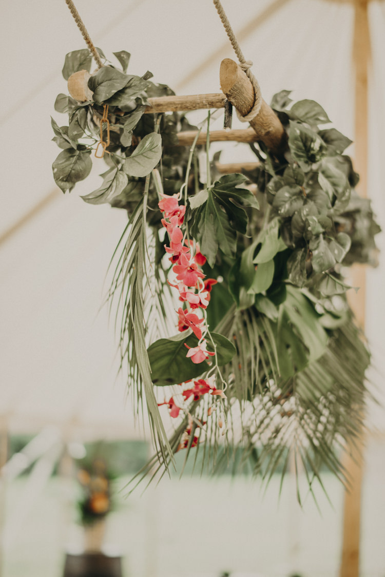 Hanging Flowers Arrangement Palm Leaves Marquee Vibrant Tropical Wedding Ideas http://foto-memories.co.uk/