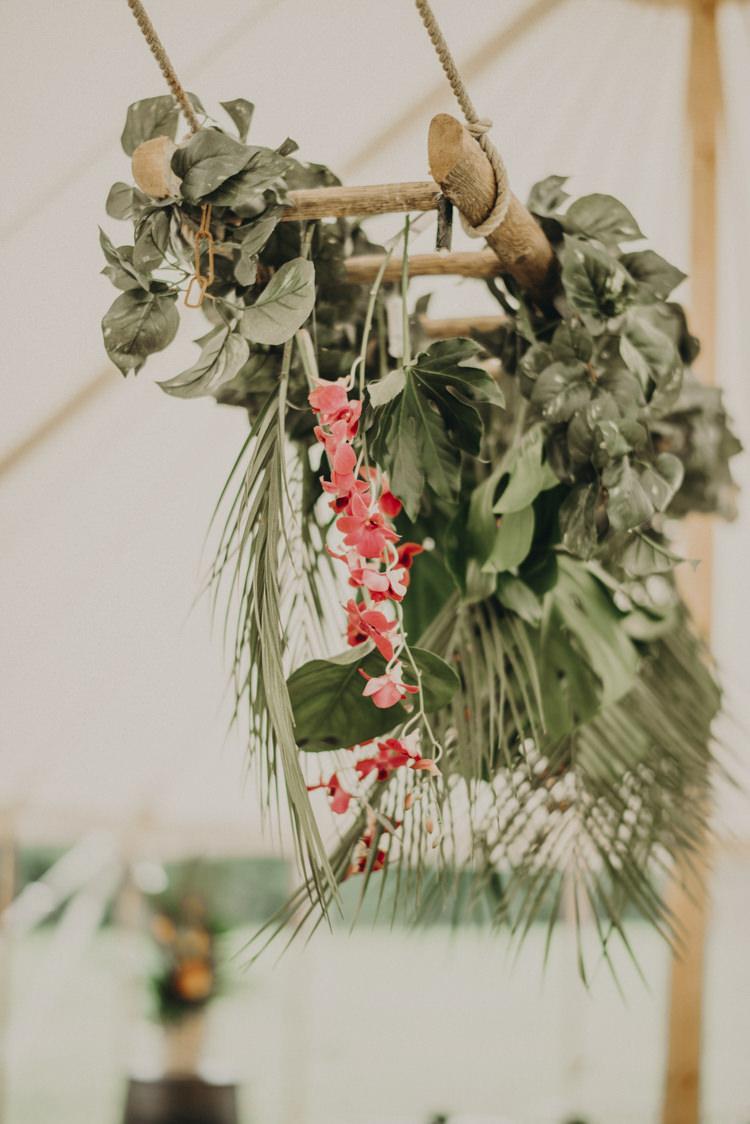 Hanging Flowers Arrangement Palm Leaves Marquee Vibrant Tropical Wedding Ideas http://foto-memories.co.uk/
