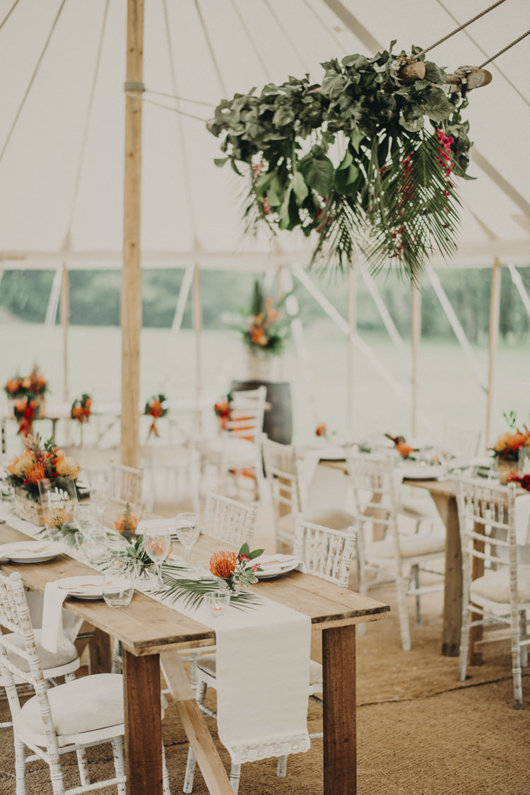 Hanging Flowers Palm Leaf Marquee Decor Vibrant Tropical Wedding Ideas http://foto-memories.co.uk/