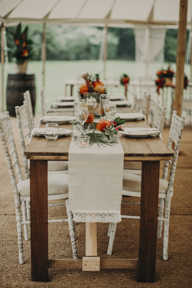 Long Wooden Rustic Tables Decor Vibrant Tropical Wedding Ideas http://foto-memories.co.uk/