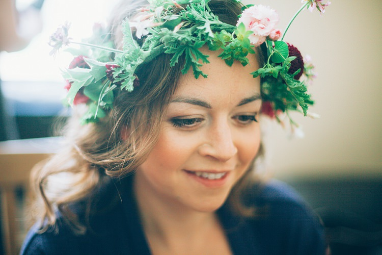 Flower Crown Bride Bridal Eco Friendly Floral Filled Wedding http://kellyjphotography.co.uk/