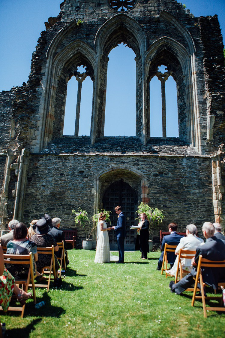 Valle Crucis Abbey Ceremony Eco Friendly Floral Filled Wedding http://kellyjphotography.co.uk/