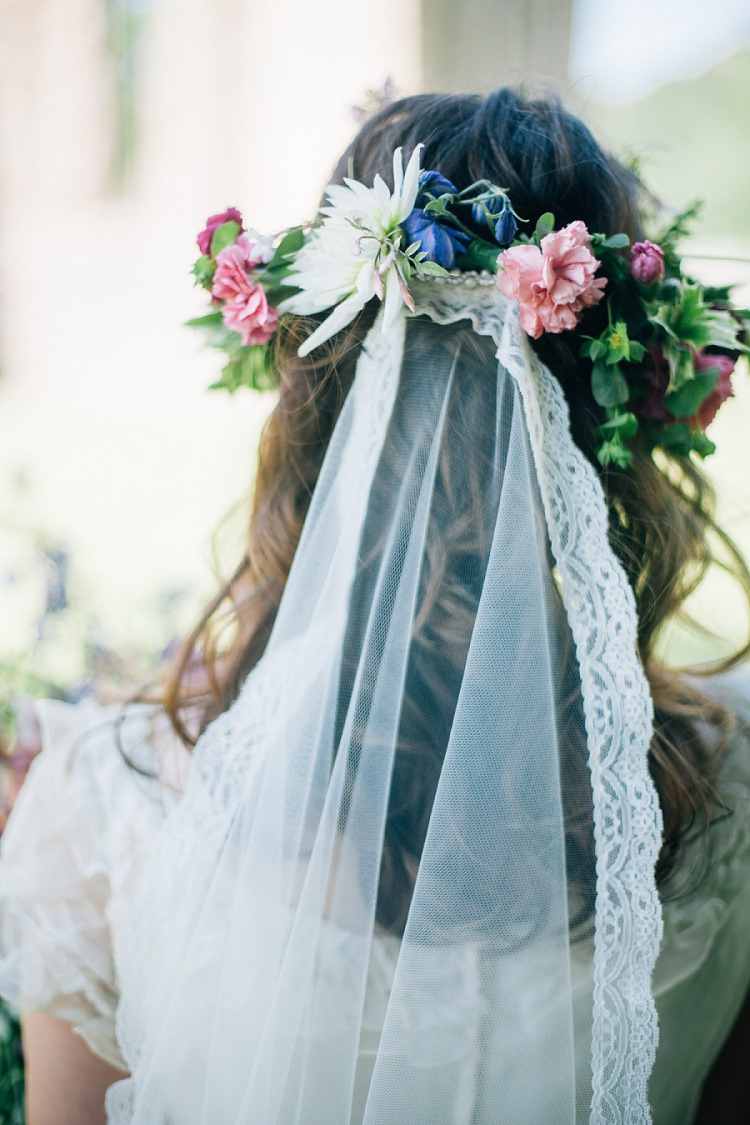 Flower Crown Lace Veil Bride Bridal Style Hair Eco Friendly Floral Filled Wedding http://kellyjphotography.co.uk/