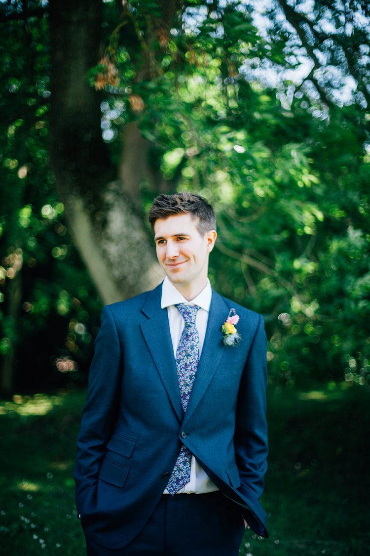 Navy Suit Floral Tie Groom Style Eco Friendly Floral Filled Wedding http://kellyjphotography.co.uk/
