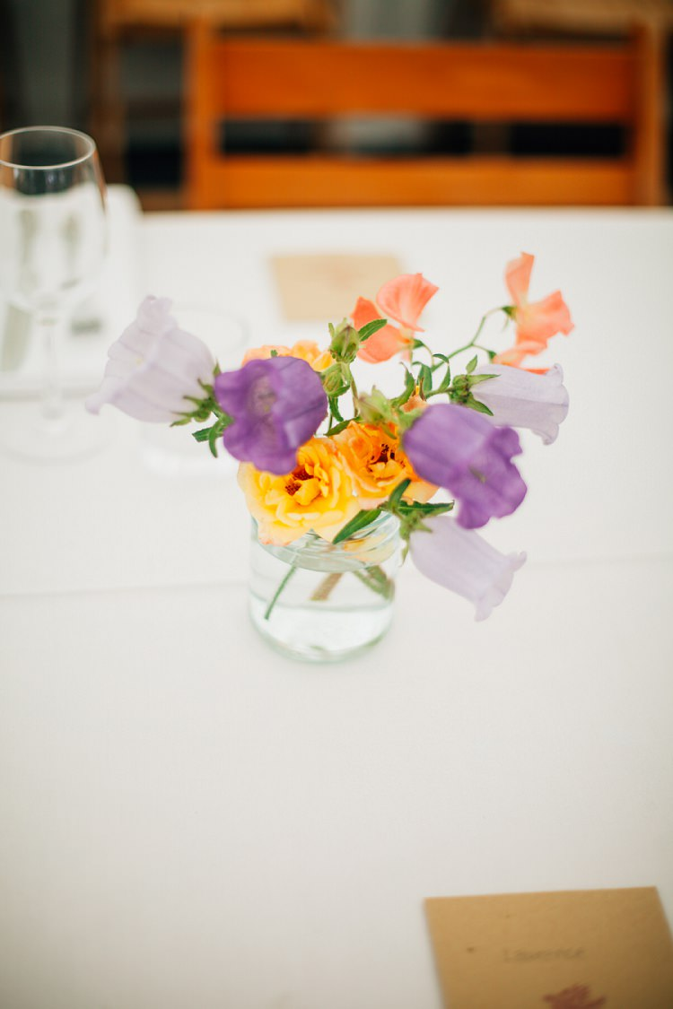 Jar Flowers Sweet Pea Rose Eco Friendly Floral Filled Wedding http://kellyjphotography.co.uk/