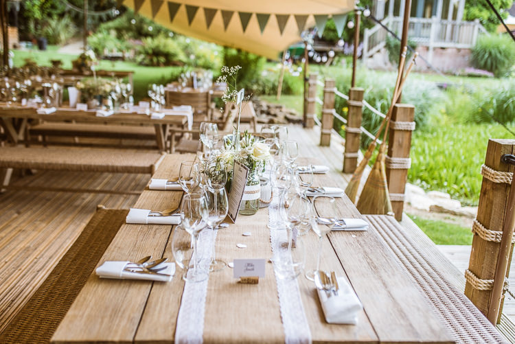 Hessian Lace Table Runner Laid Back Summer Garden Party Wedding Stretch Tent http://joemallenphotography.co.uk/