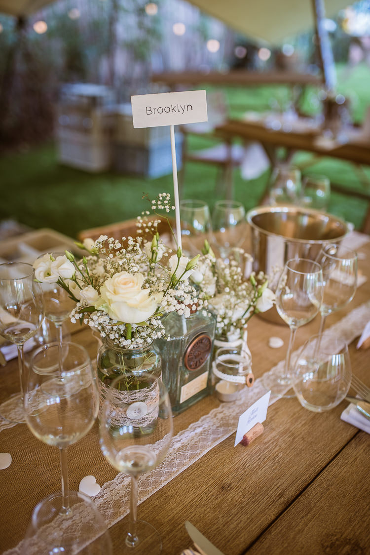 Bottle Jars Flowers Centrepiece Decor Hessian Lace Rustic Laid Back Summer Garden Party Wedding Stretch Tent http://joemallenphotography.co.uk/