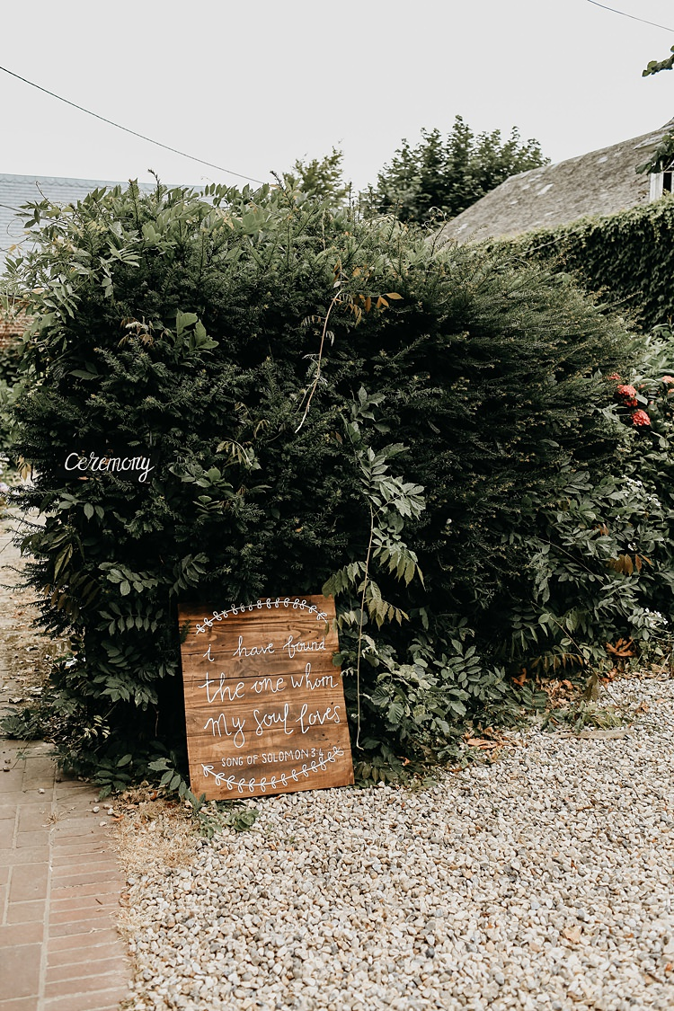 Wooden Sign Calligraphy Rustic Greenery Copper Chateau Wedding in France http://hindmari.com/