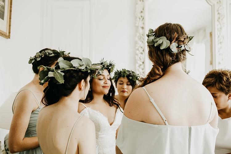 Flower Crown Bride Bridesmaids Rustic Greenery Copper Chateau Wedding in France http://hindmari.com/