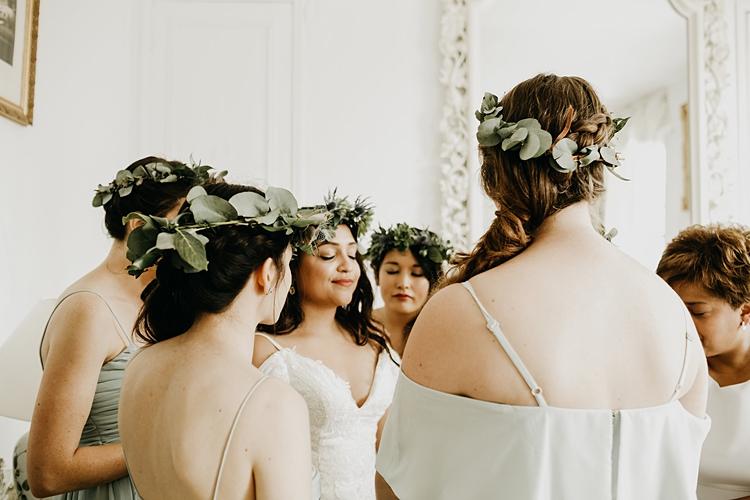 Flower Crown Bride Bridesmaids Rustic Greenery Copper Chateau Wedding in France http://hindmari.com/