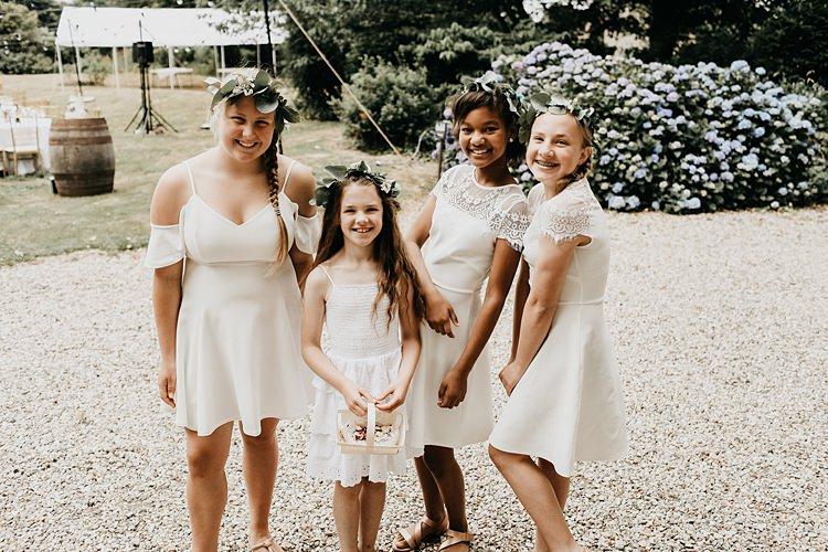 Flower Girls White Dresses Rustic Greenery Copper Chateau Wedding in France http://hindmari.com/