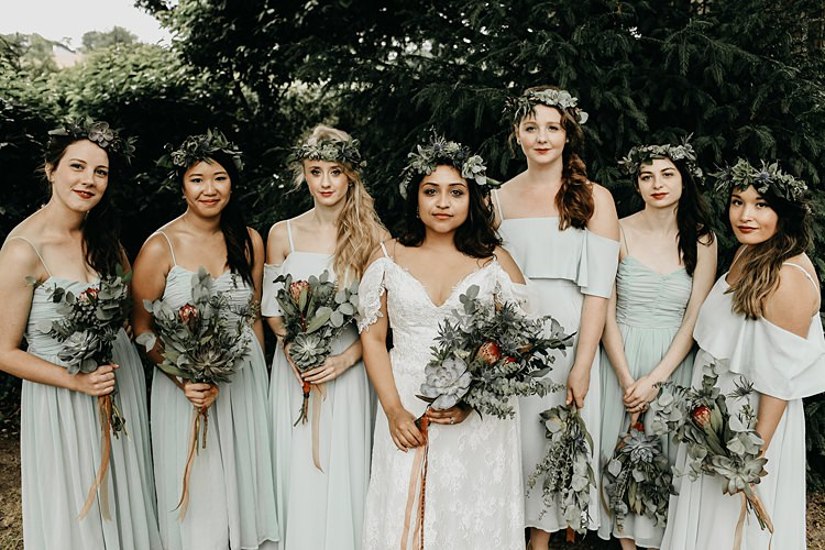 Mint Green Bridesmaid Dresses Flowers Crowns Rustic Greenery Copper Chateau Wedding in France http://hindmari.com/