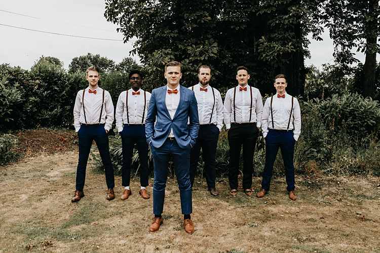 Groom Groomsmen Bow Ties Braces Suits Rustic Greenery Copper Chateau Wedding in France http://hindmari.com/