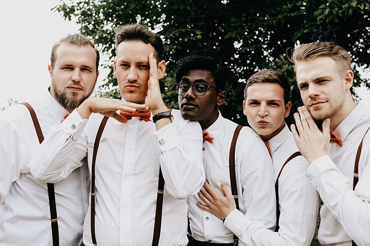 Bow Ties Braces Groomsmen Rustic Greenery Copper Chateau Wedding in France http://hindmari.com/