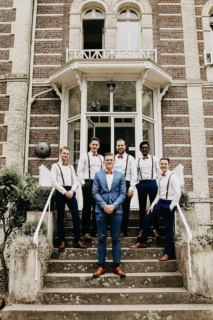 Bow Ties Braces Groom Groomman Suits Rustic Greenery Copper Chateau Wedding in France http://hindmari.com/