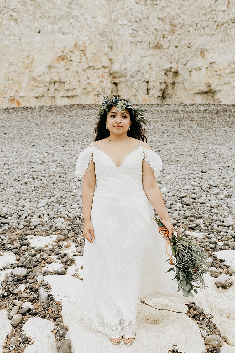 Off Shoulder Lace Dress Gown Bride Bridal Rustic Greenery Copper Chateau Wedding in France http://hindmari.com/