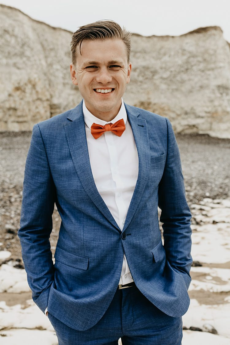 Blue Suit Bow Tie Groom Rustic Greenery Copper Chateau Wedding in France http://hindmari.com/