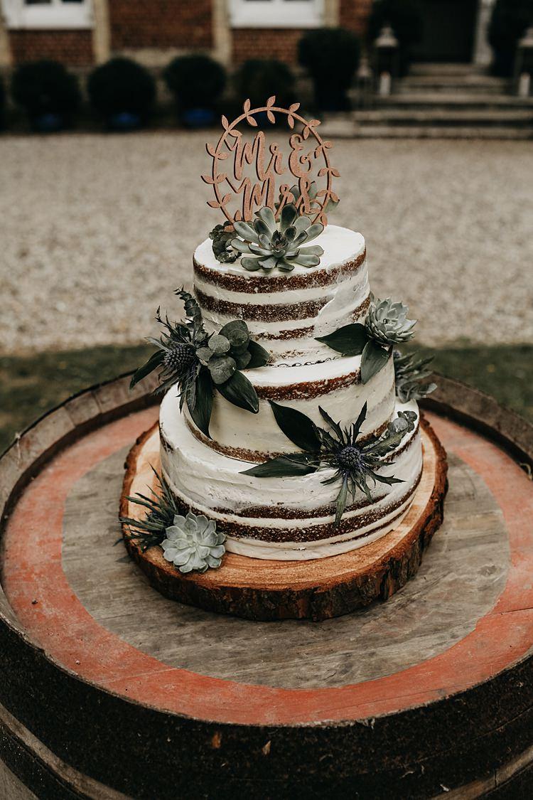 Naked Cake Buttercream Sponge Topper Rustic Greenery Copper Chateau Wedding in France http://hindmari.com/