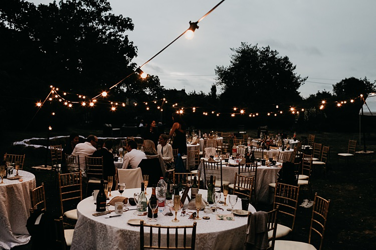 Festoon Lights Outdoor Rustic Greenery Copper Chateau Wedding in France http://hindmari.com/